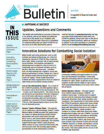 Baycrest Bulletin - April 2020